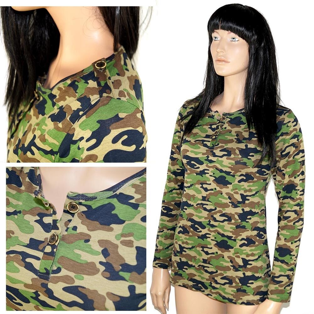 damen army langarm shirt tarn farben armee camouflage body. Black Bedroom Furniture Sets. Home Design Ideas