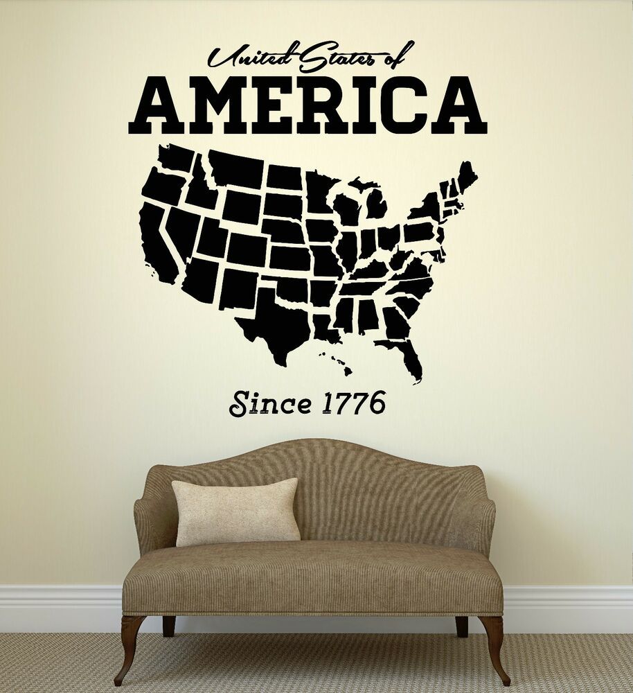 Wall Decal United States USA Map State Coolest Room Art