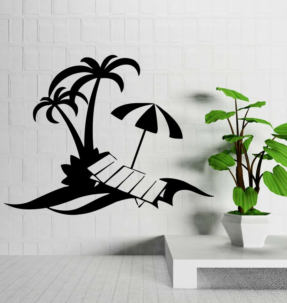 Beach Wall Decals Wall Decal Palm Beach Vacations Relax Tropical Decor Vinyl