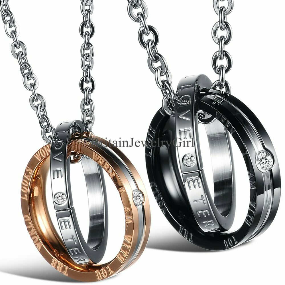 interlocking ring his and hers matching promise eternal love couple necklace ebay. Black Bedroom Furniture Sets. Home Design Ideas