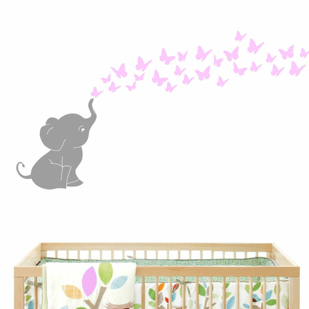 Elephant blowing butterflies baby wall decal vinyl wall for Baby room decoration wall stickers