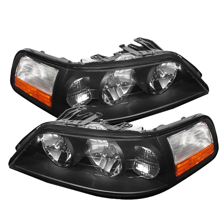 lincoln 05 11 town car black housing replacement headlights pair set ebay. Black Bedroom Furniture Sets. Home Design Ideas