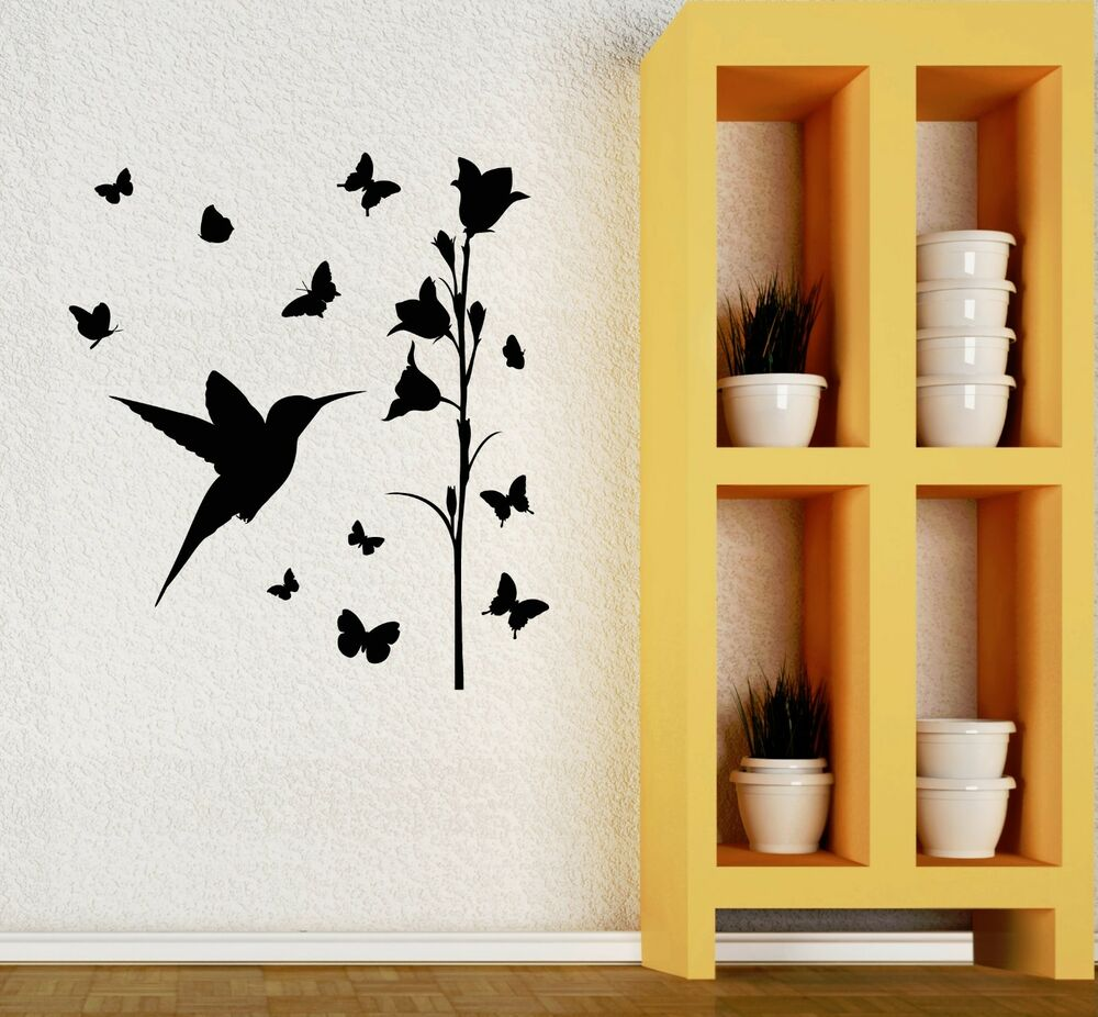 Wall decal beautiful flowers bird home room art decor for Room decor art