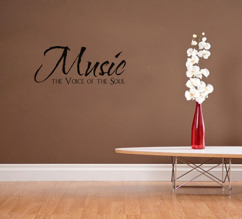 Music the voice of the soul vinyl wall decal home decor for Home decor quotes on wall