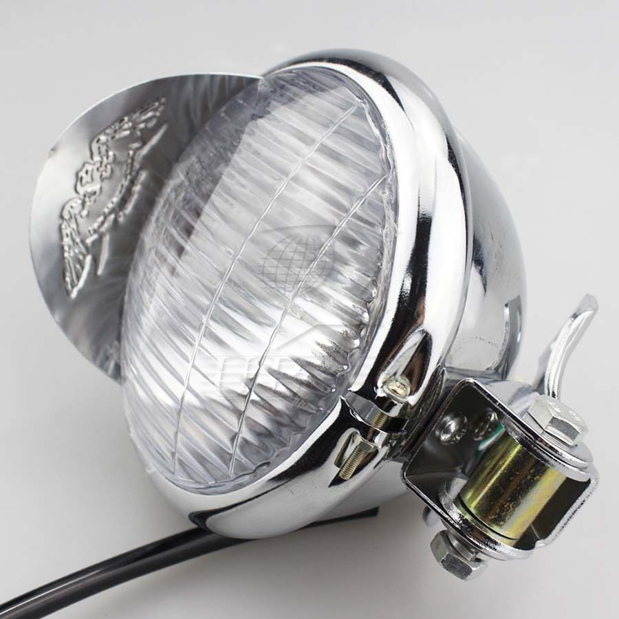 Custom Chopper Headlights : Quot chrome motorcycle headlight for cruiser chopper cafe