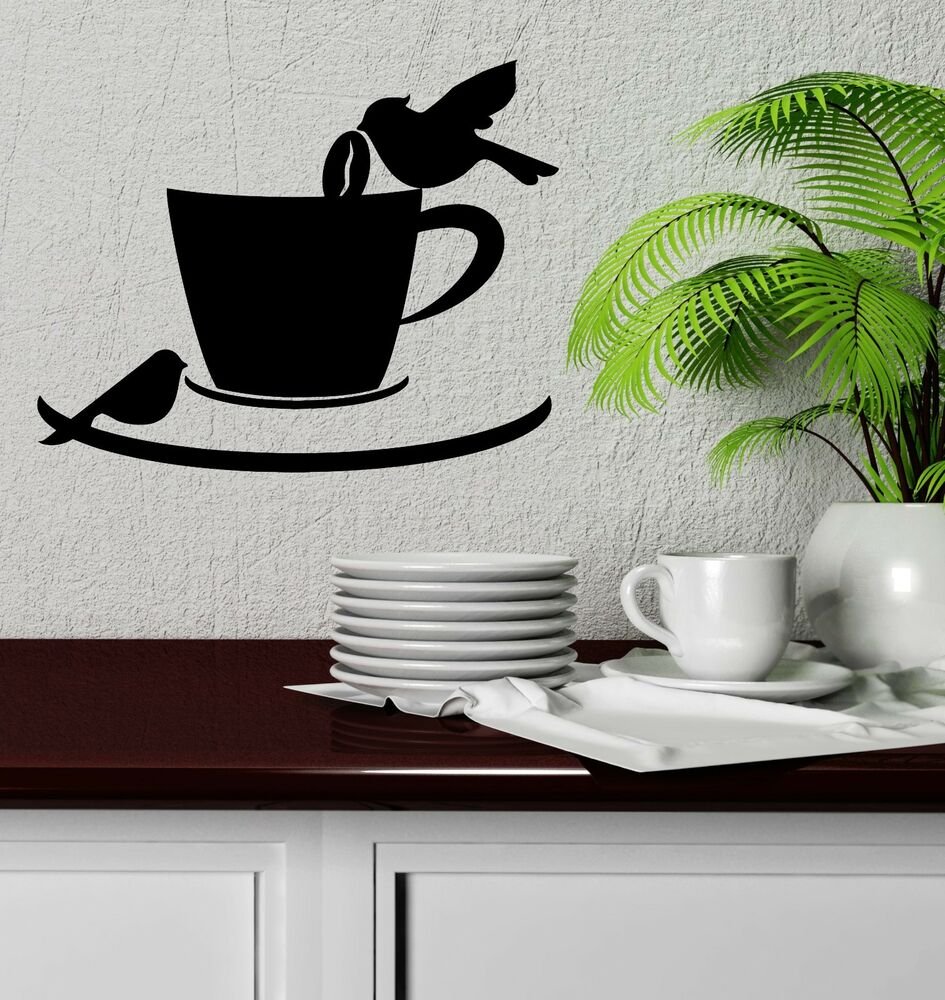 Wall Decal Birds Coffee Shop Cup Cafe Kitchen Decor Vinyl ...