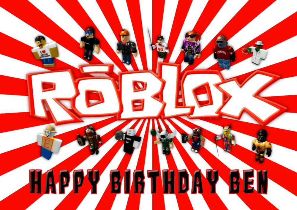 LARGE ROBLOX Birthday Party Cake Decoration icing sheet ...