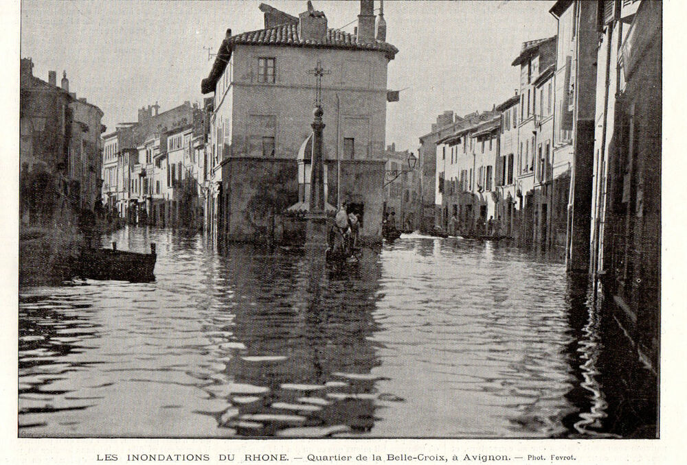 84 avignon inondation rhone quartier de la belle croix flood image 1896 print ebay. Black Bedroom Furniture Sets. Home Design Ideas