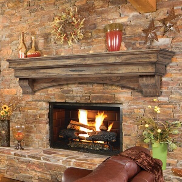 Pearl Mantel Celeste arched pine fireplace mantel or TV ...