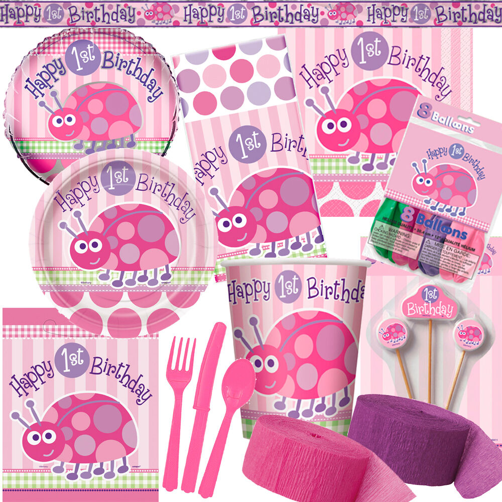 1st Birthday Ladybug Pink Party Supplies Decorations