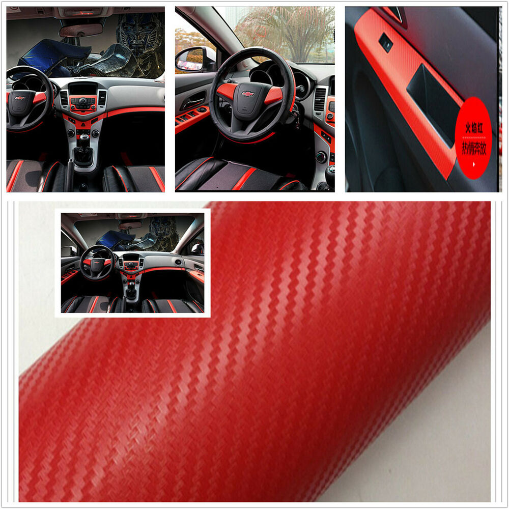 car interior red twill weave carbon 3d fiber vinyl wrap film sheet decal sticker ebay. Black Bedroom Furniture Sets. Home Design Ideas