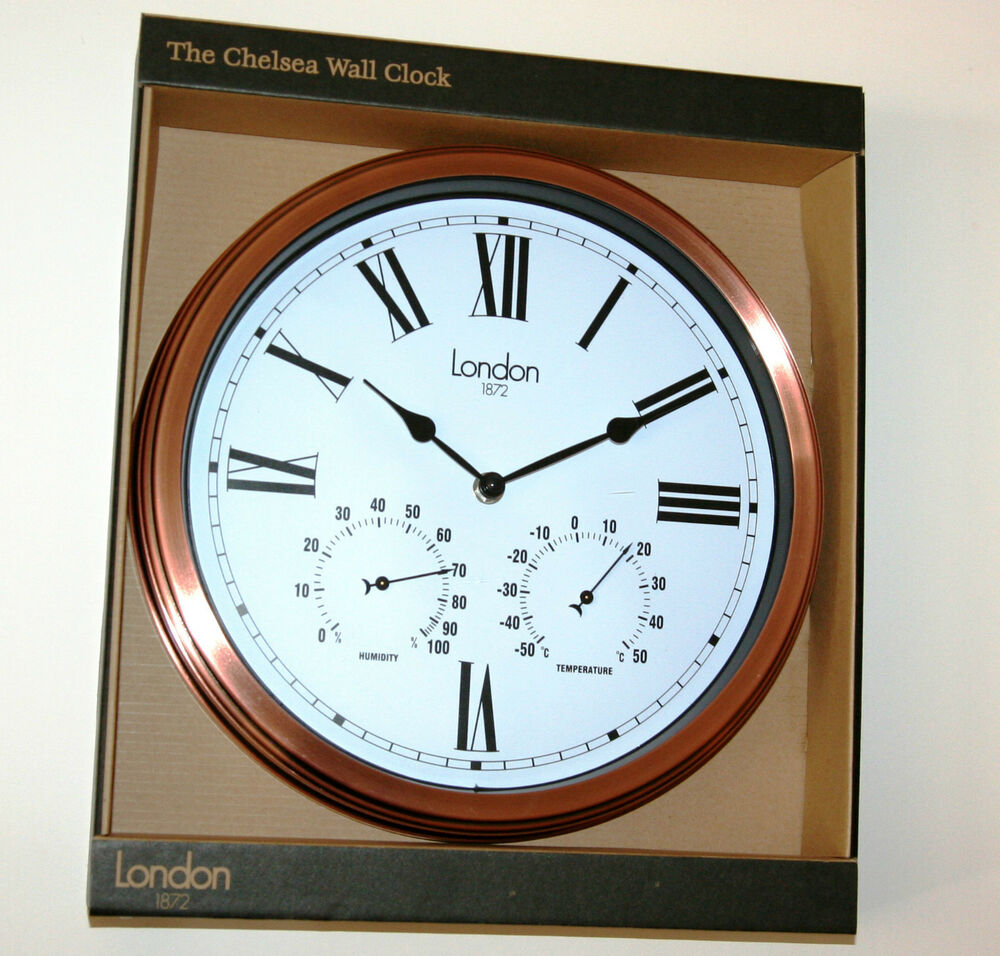 outdoor wall clock copper case with thermometer