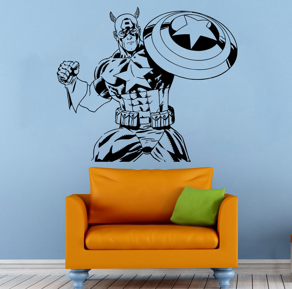 Captain america wall decal vinyl sticker comics superhero Captain america wall decor