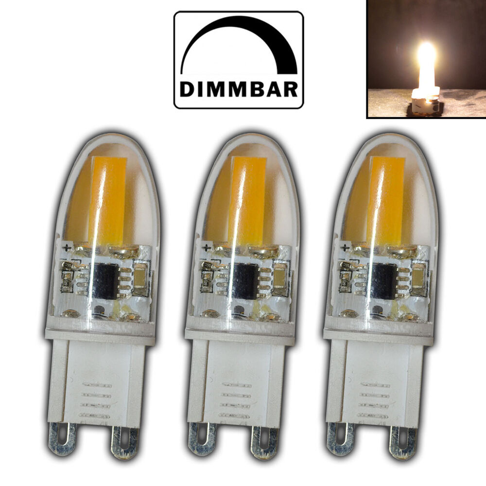 3x mini g9 cob led 2 watt dimmbar a warmwei 220v leuchtmittel halogen birne ebay. Black Bedroom Furniture Sets. Home Design Ideas