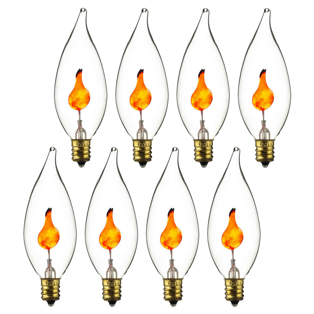 8 Large Flicker Flame Light Bulbs Candelabra Base 11j Free Shipping New Ebay
