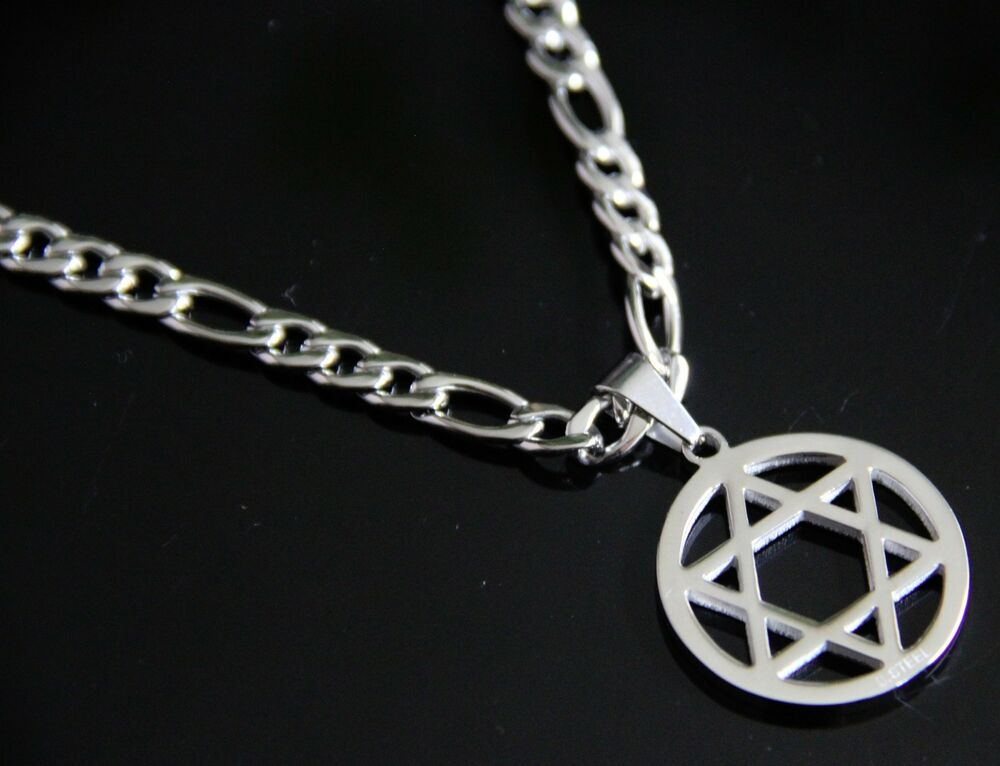Men silver stainless steel 24 figaro chain necklace star for Star of david necklace mens jewelry