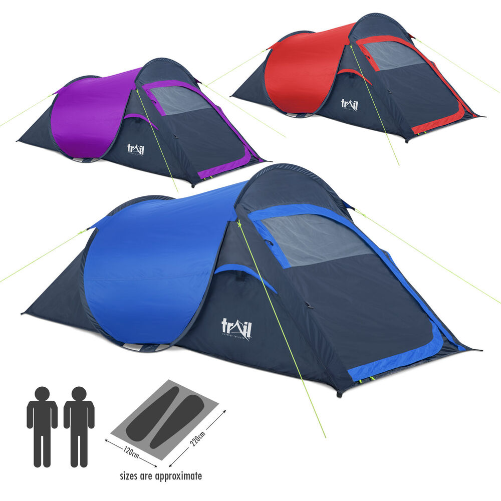 2 man two person pop up festival camping tent carry case easy quick fast pitch ebay. Black Bedroom Furniture Sets. Home Design Ideas