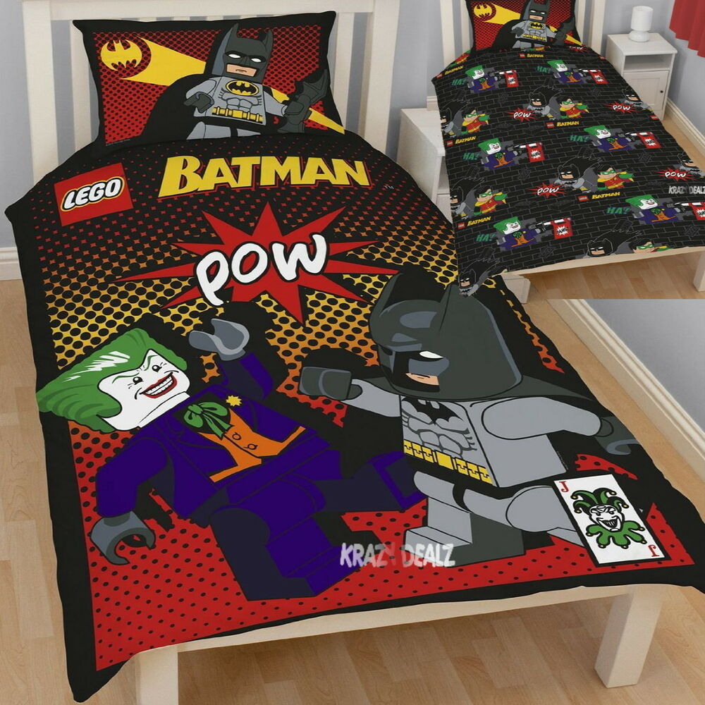 Lego Batman Joker Single Panel Duvet Cover Bed Set New
