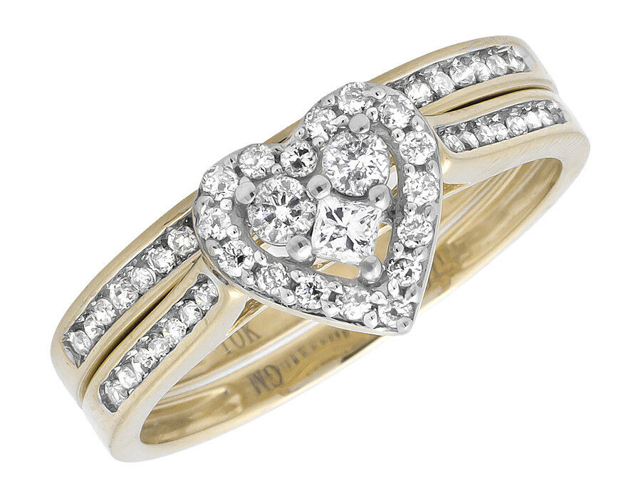 10k yellow gold round diamond heart shaped bridal for Ebay diamond wedding ring sets