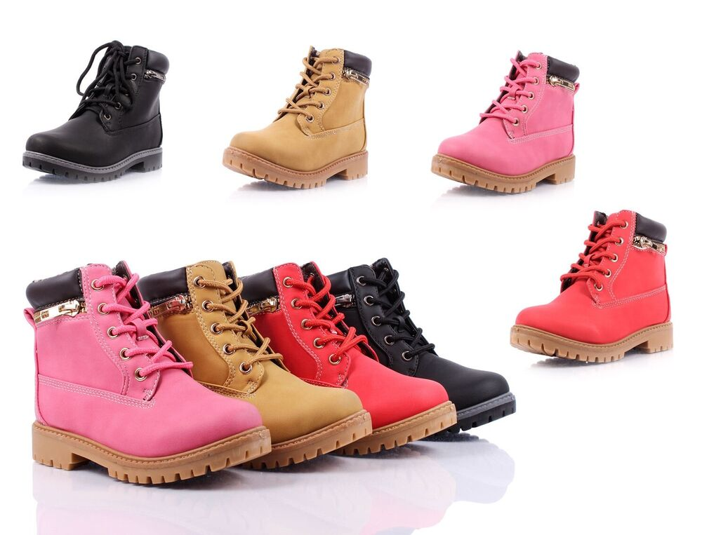 Color Lace Up Preschool Girls Military Boots Kids Ankle Bootie Youth ...