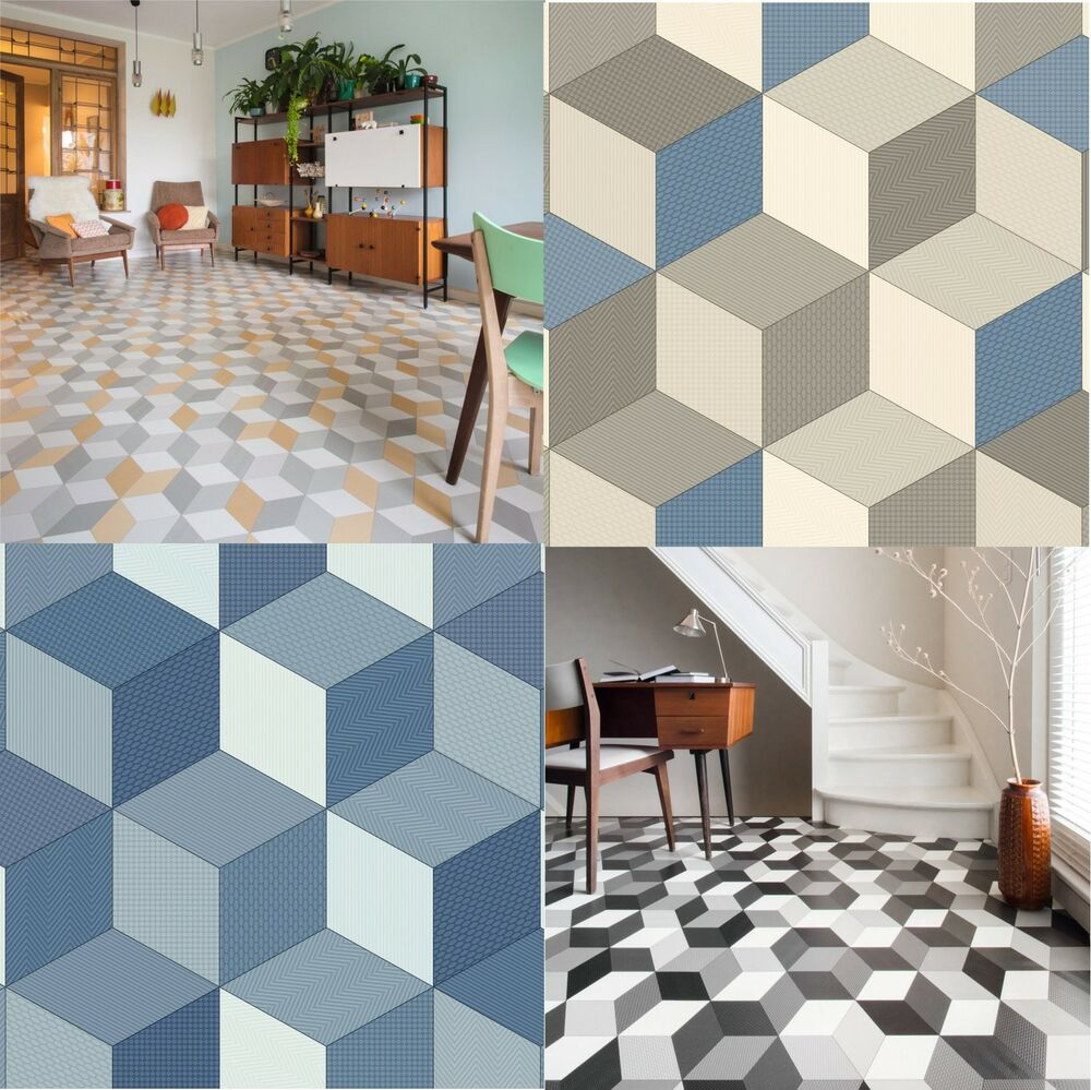 Cushioned Vinyl Flooring Sheet Cube It Geometric Design Kitchen Bathroom Lino Ebay