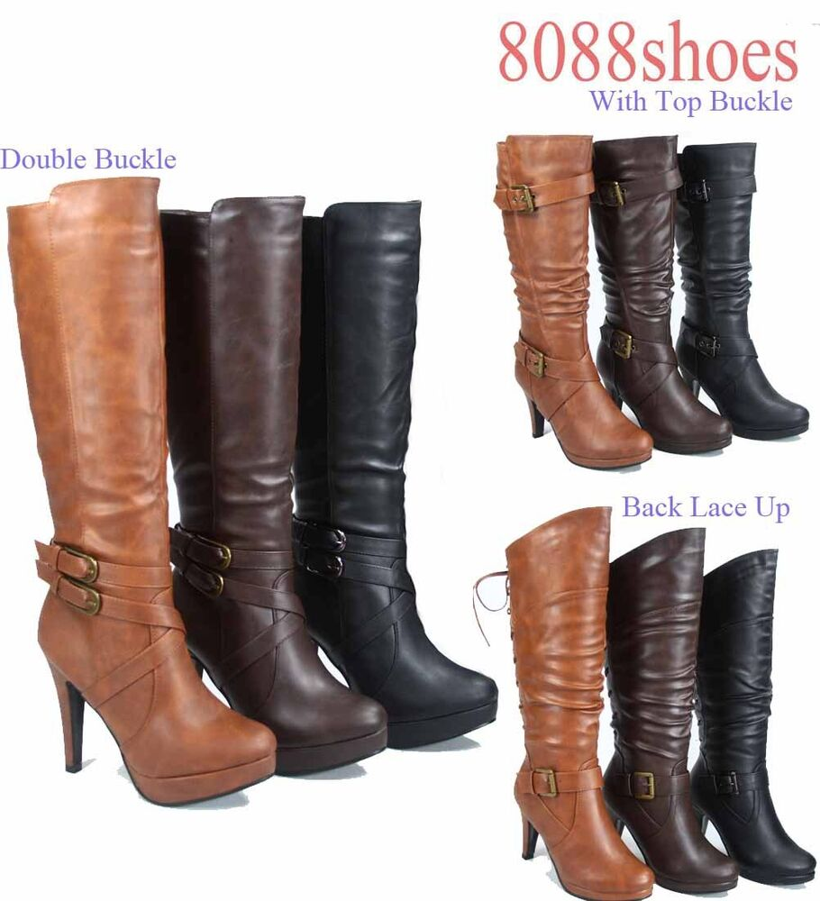 s zipper high heel platform mid calf knee high boots