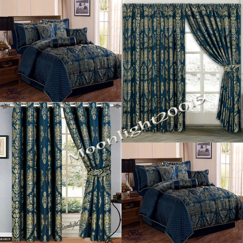 Jacquard Luxury 7 Piece Blue Comforter Set Bedspread