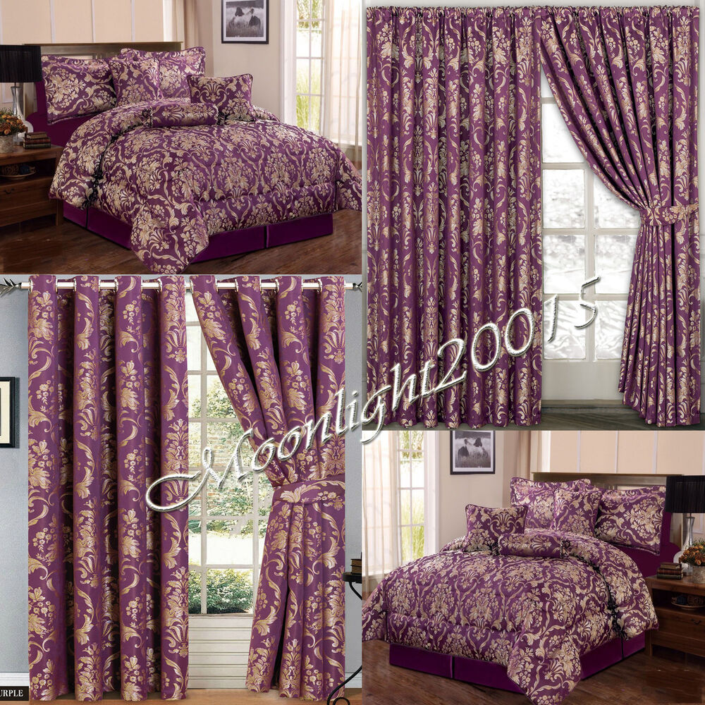 Jacquard Luxury 7 Piece Purple Comforter Set Bedspread