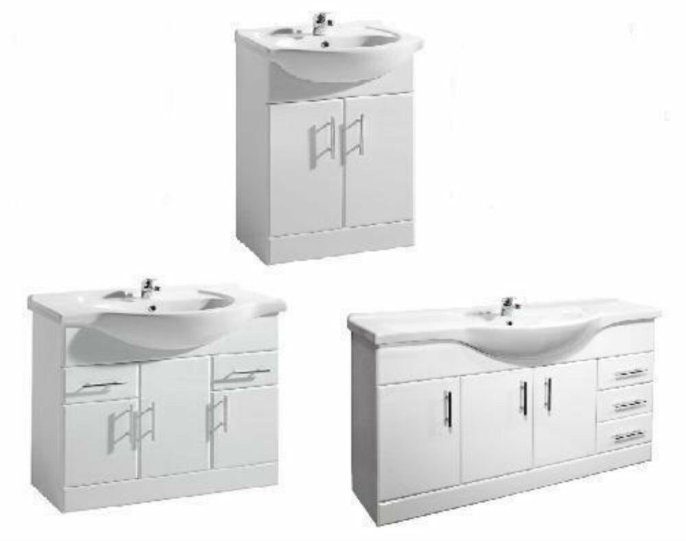 Windsor white gloss bathroom vanity units ceramic basin for Bathroom washbasin cabinet