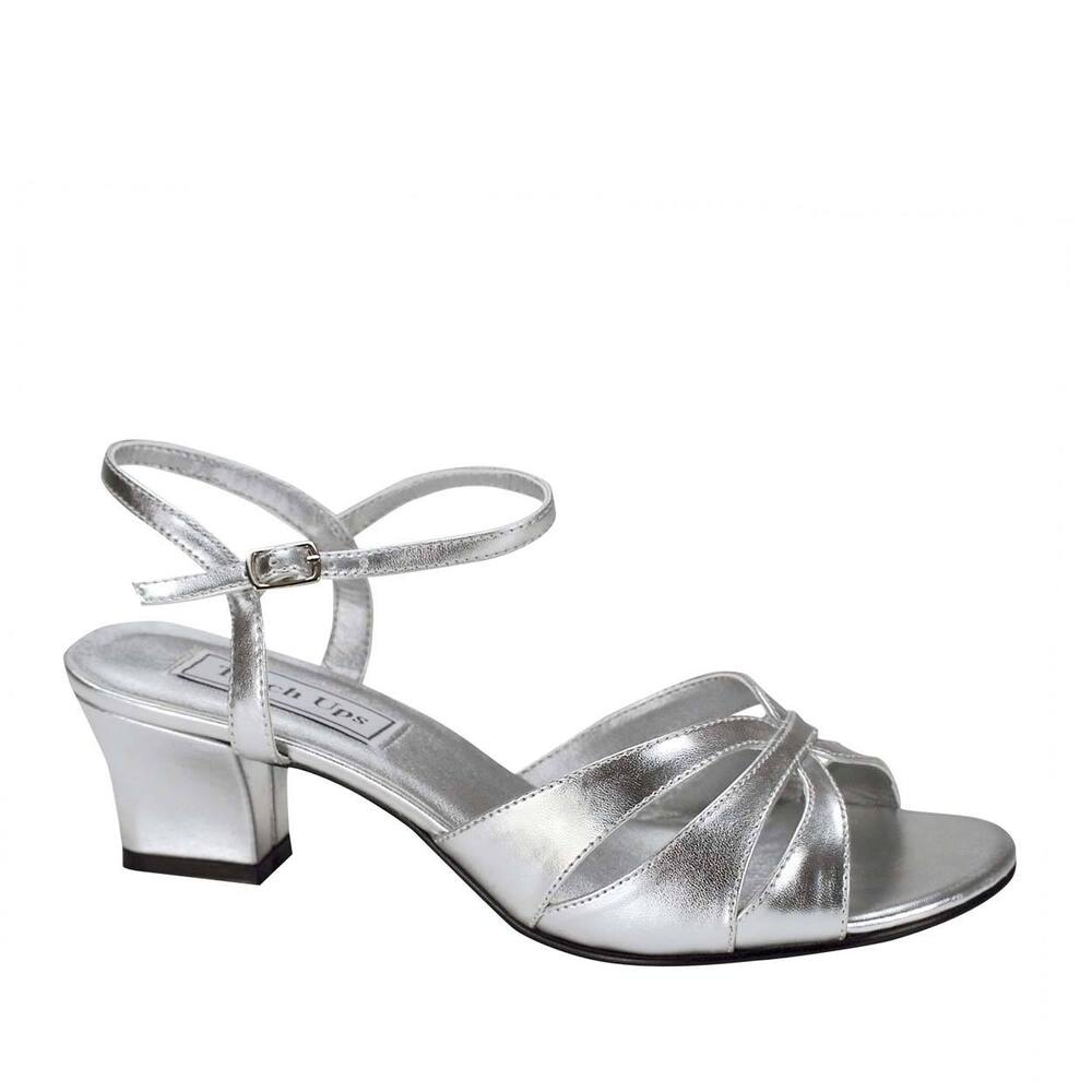 WIDE WIDTH Low Heel Woven Front Silver Ankle Strap Wedges ...