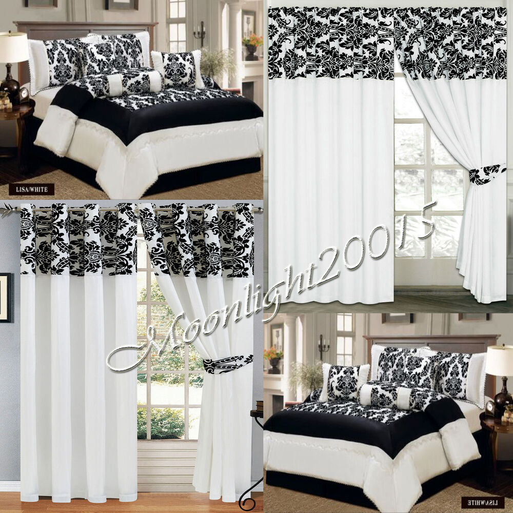 Damask 7 Piece (White) Quilted Bedspread With Valance