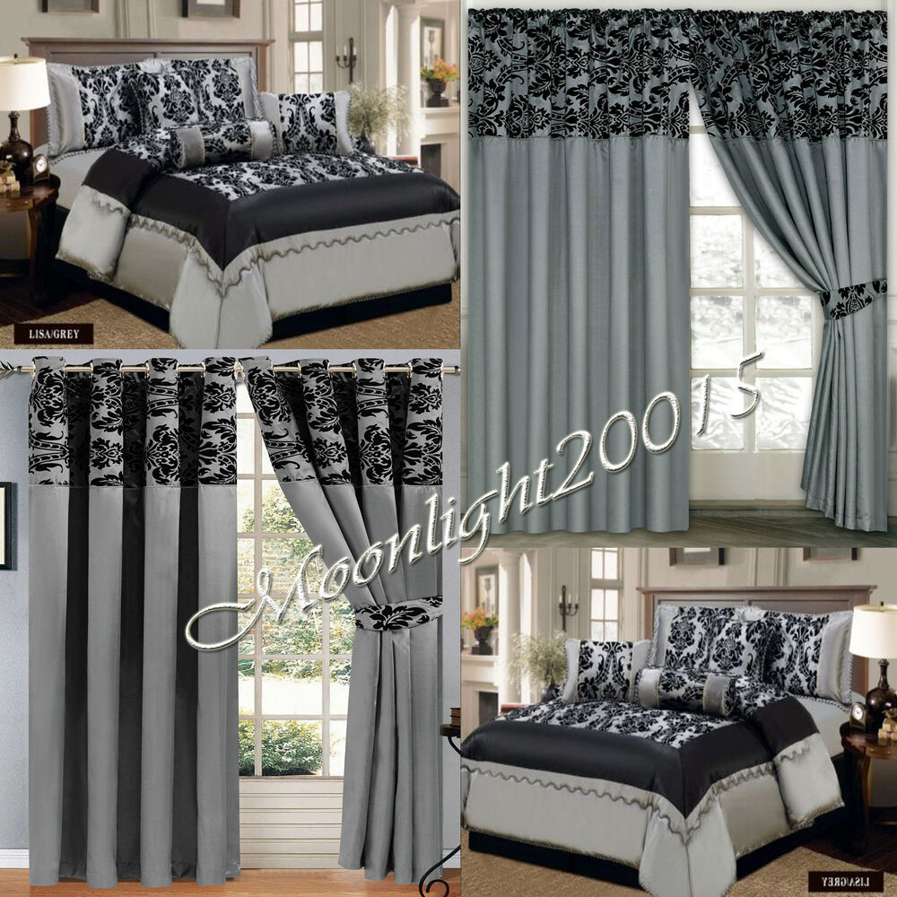 New 7 Piece Pcs Gray Flock Quilted Comforter Set