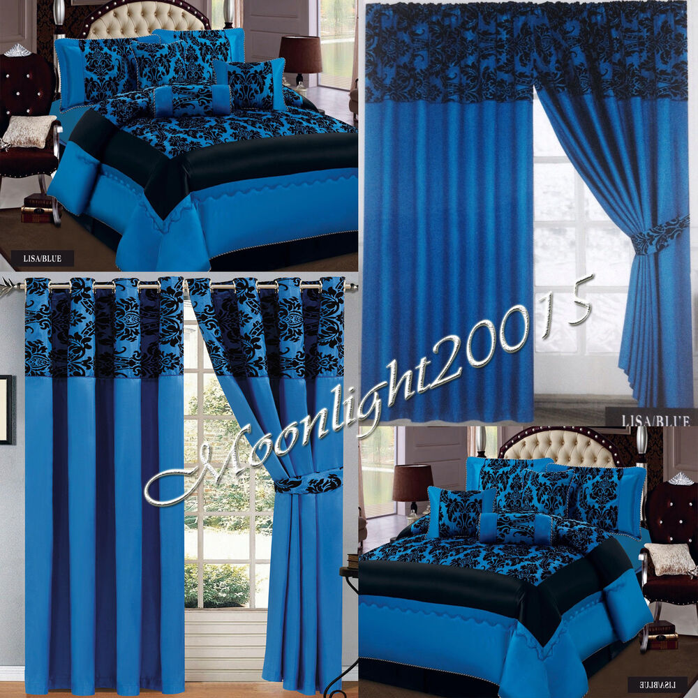New 7 Piece Blue Flock Comforter Quilted Bedspread Set