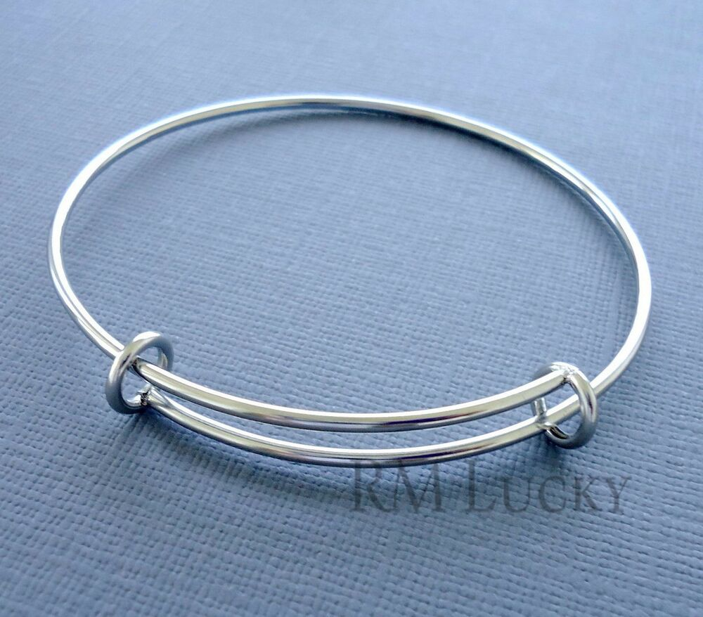 Wire Bracelets With Charms 2: Expandable Wire Bangle Charm Bracelet Stainless Steel