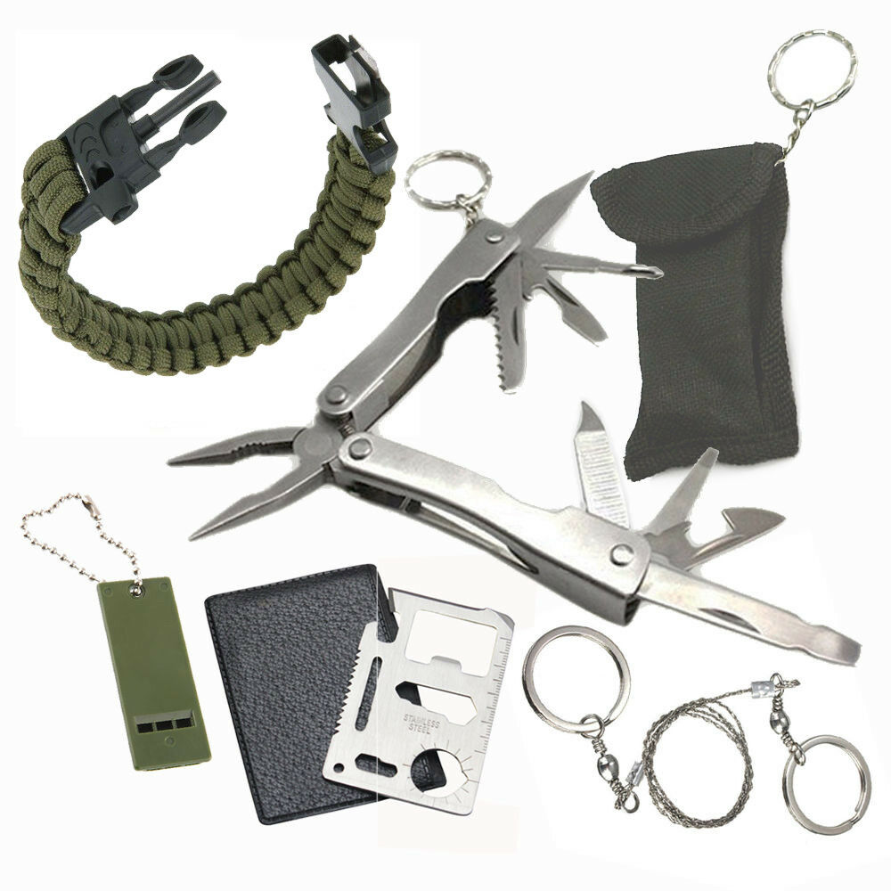 Camping survival pocket multi tools kit outdoor sports for Backpacking fishing kit
