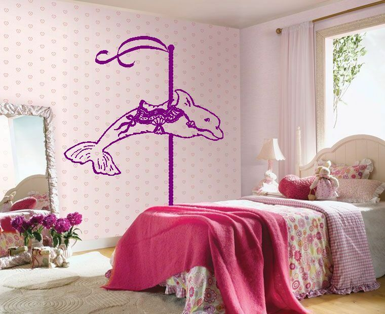 Dolphin carousel wall sticker wall art decor vinyl decal for Carousel wall mural