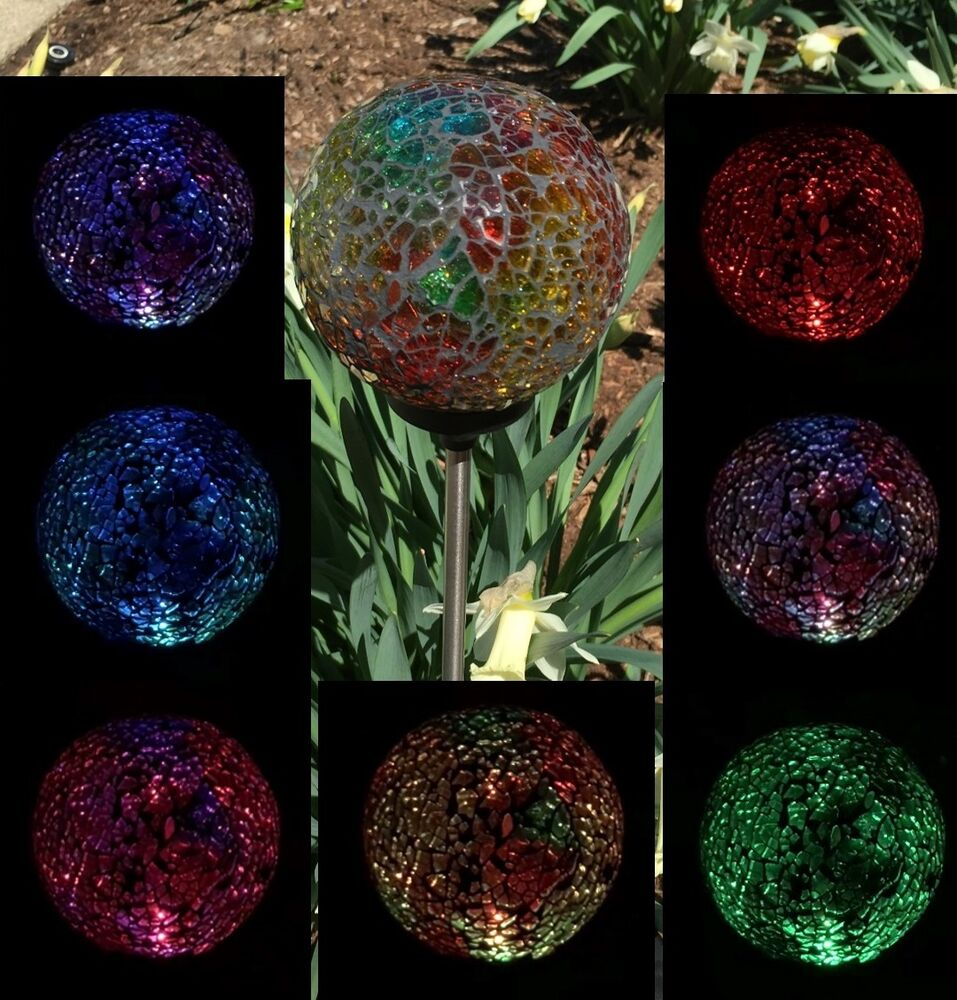 Solar power mosaic glass ball garden stake color changing outdoor lawn led light ebay for Solar garden stakes color changing