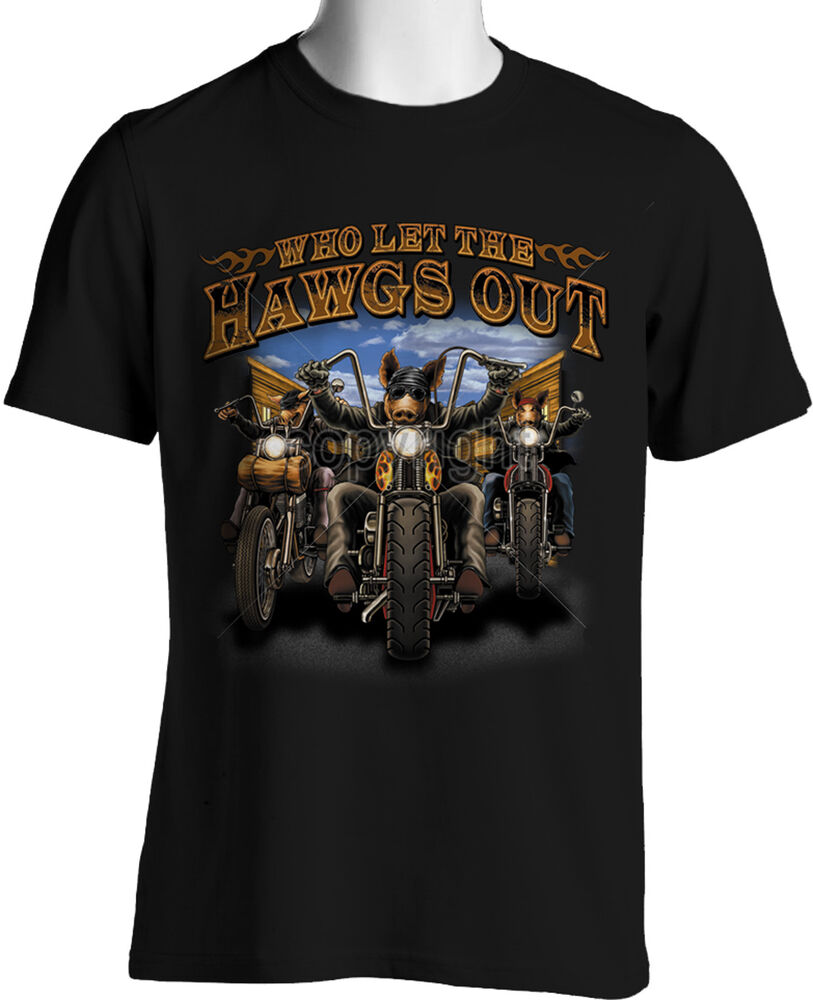 biker t shirts who let hawgs out funny motorcycle mens shirt small to 6xl tall ebay. Black Bedroom Furniture Sets. Home Design Ideas