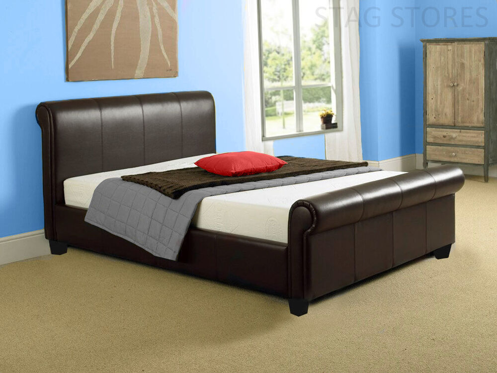 New modern aurora 6ft super king size brown leather sleigh for Contemporary super king bed