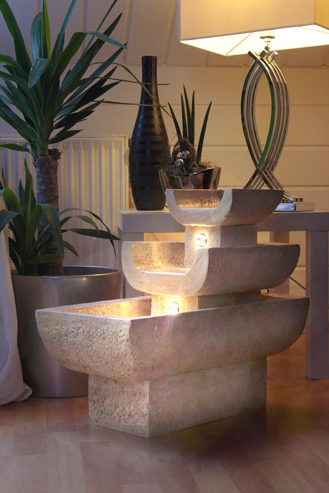 zimmerbrunnen mediterran mit led beleuchtung springbrunnen gartenbrunnen leise ebay. Black Bedroom Furniture Sets. Home Design Ideas
