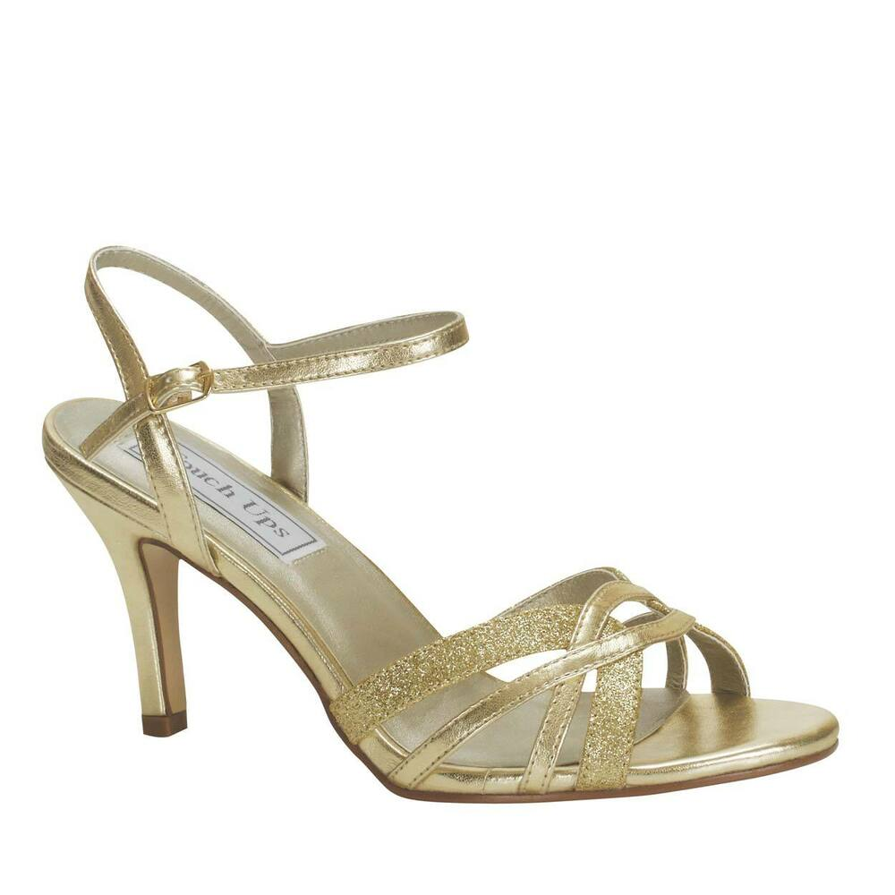 Wide Width Low Heel Strappy Gold Glitter Ankle Strap Open