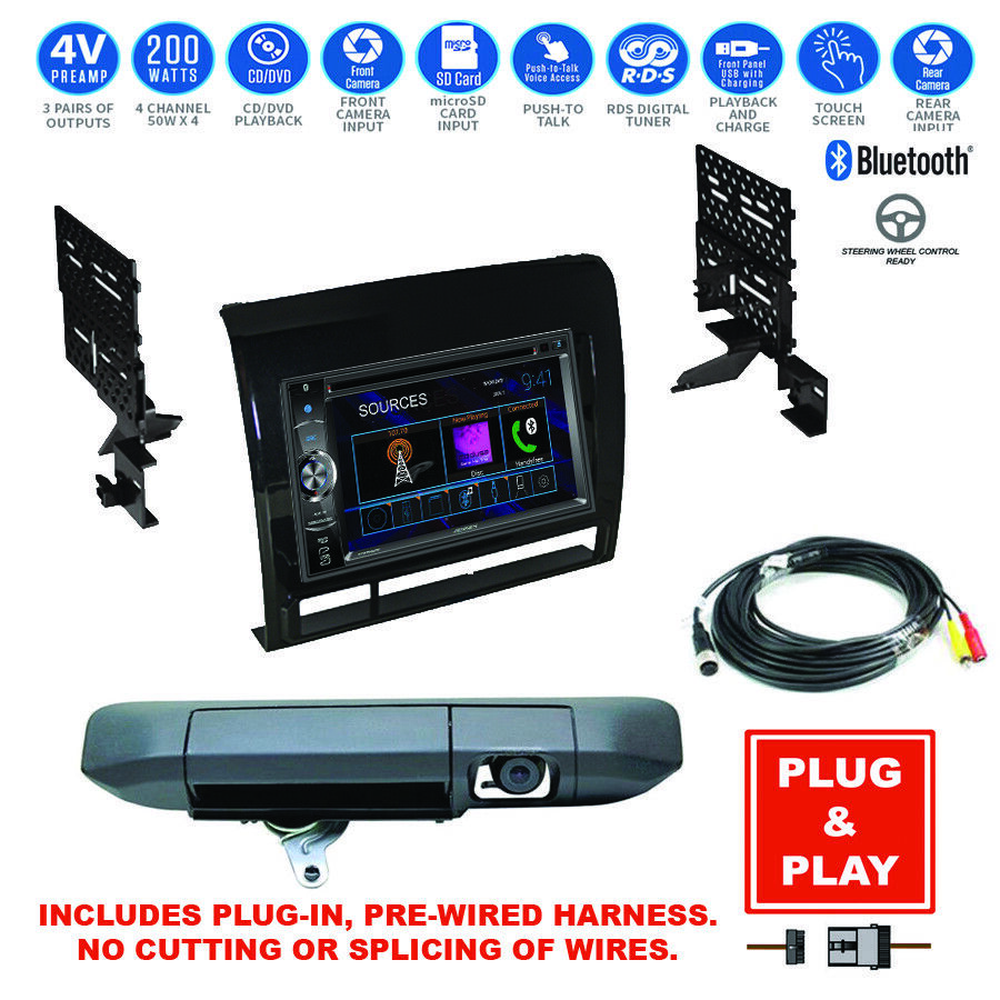 double din bluetooth usb stereo backup camera 12 15 toyota tacoma radio dash kit ebay. Black Bedroom Furniture Sets. Home Design Ideas
