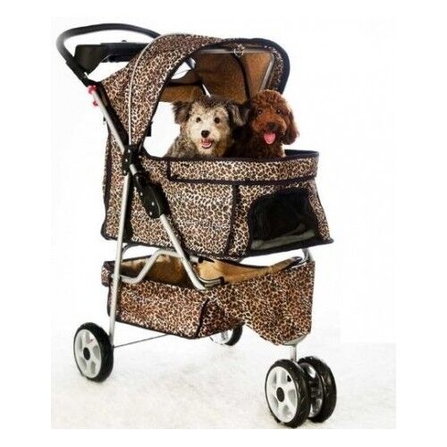 Double Pet Stroller Small Dog Cat Leopard Print Folding