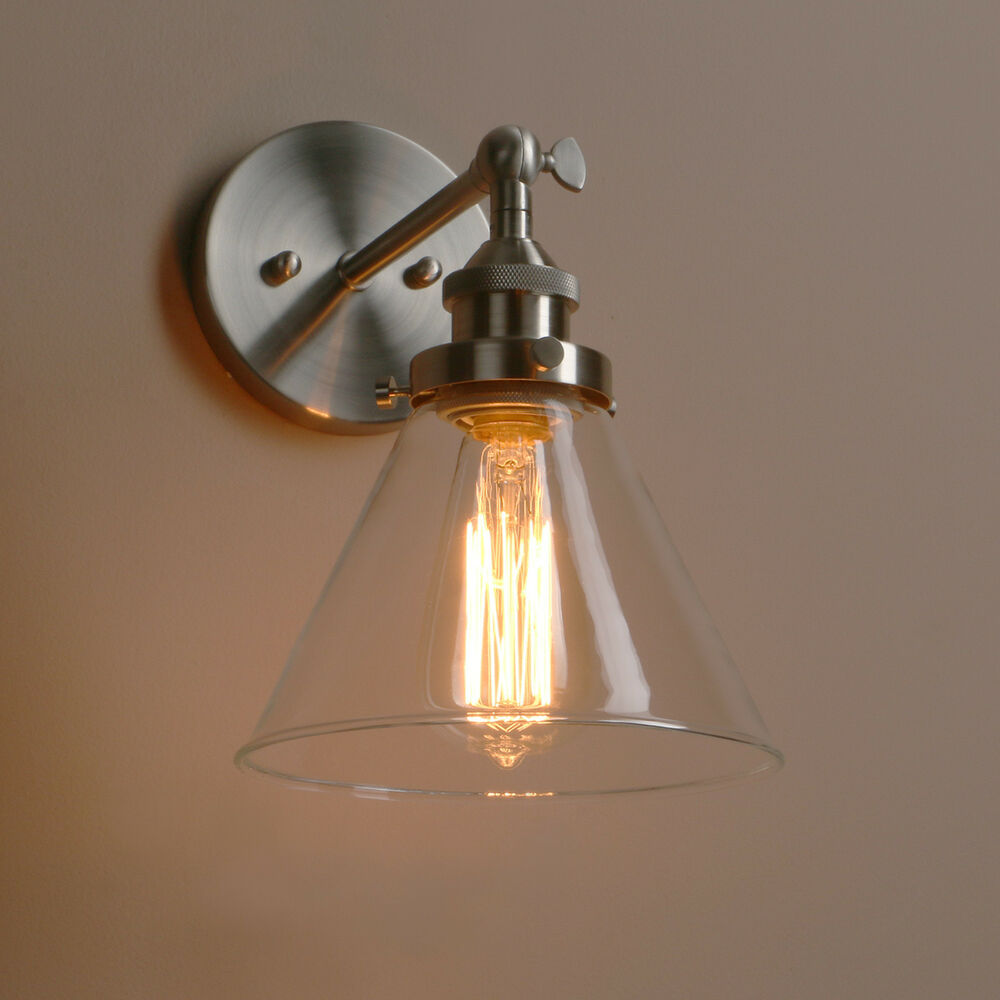 Wall Decor Lamps : Industrial vintage sconce metal glass retro wall light