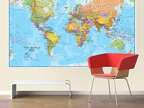 Giant world megamap huge wall map paper with front for Extra mural program