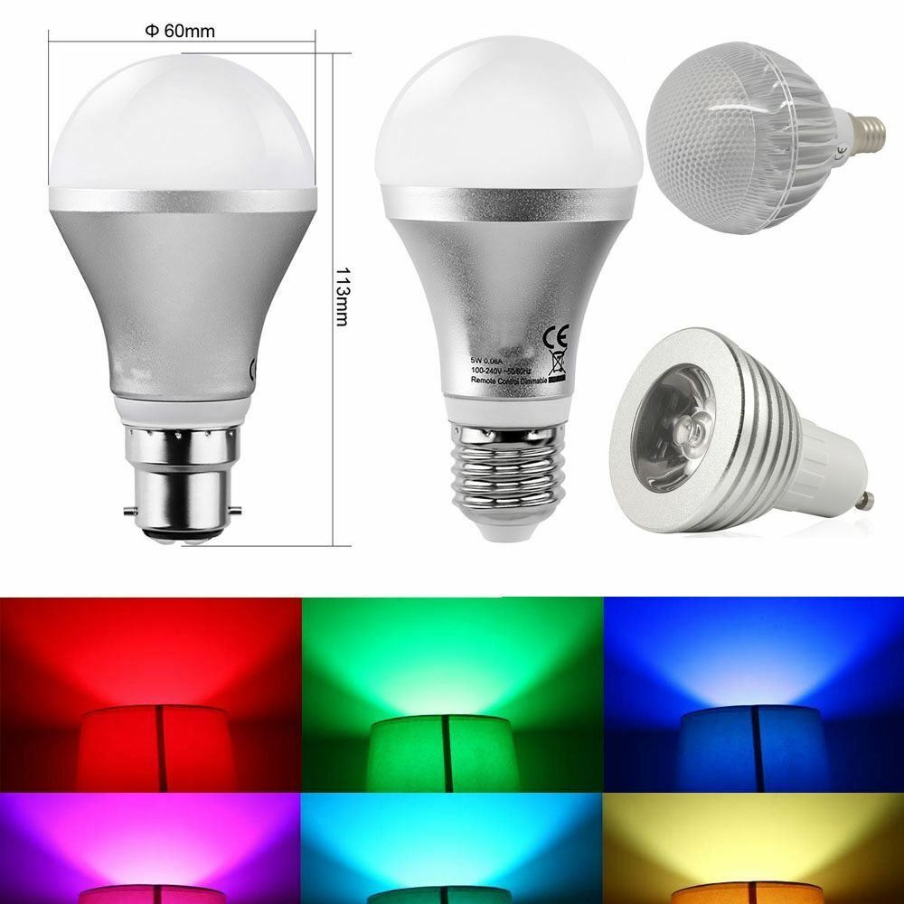 e27 b22 rgb 5w farb ver ndernd dimmbar led gl hbirne lampe gratis fernbedienung ebay. Black Bedroom Furniture Sets. Home Design Ideas