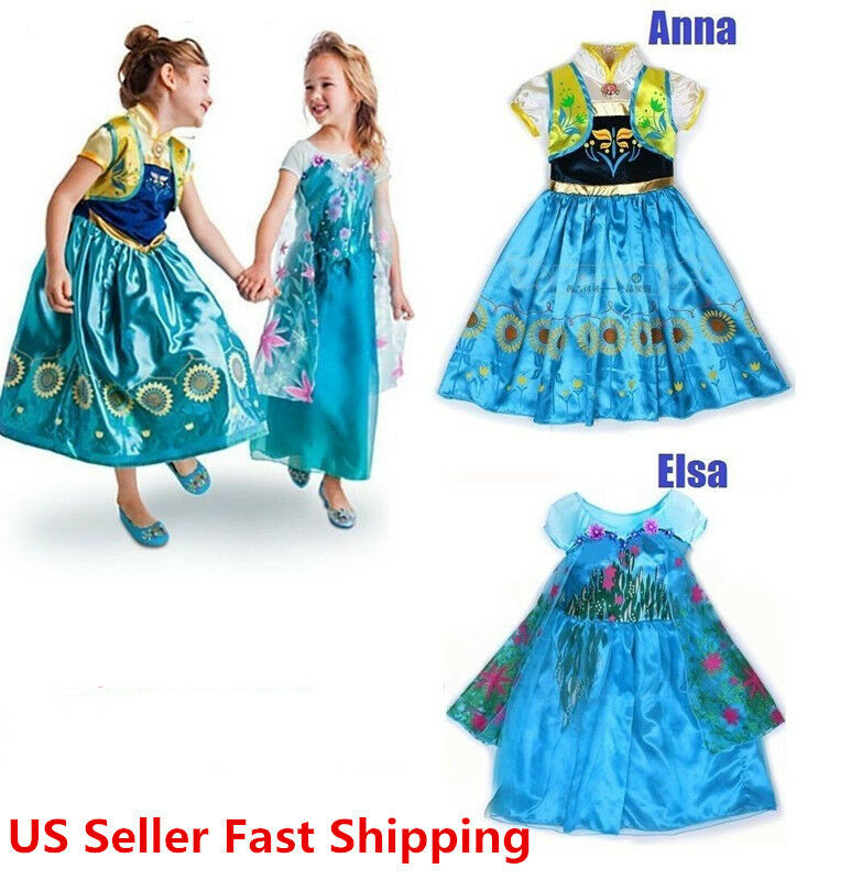 Queen elsa amp princess anna costume cosplay party dress up ebay