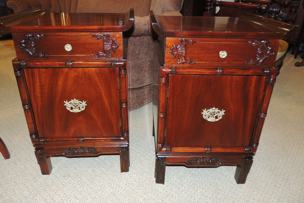 Unique pair chinese chippendale solid mahogany night stand for Chinese furniture ebay australia