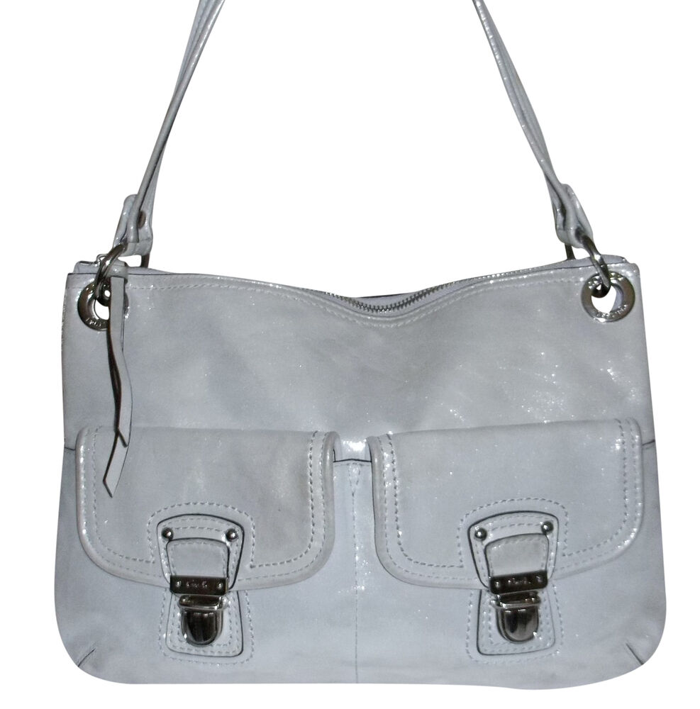 Coach Light Silver Shimmer Metallic Leather Purse Handbag
