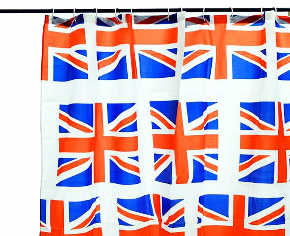 duschvorhang mit 12 sen 180x180cm textil union jack england fahne vorhang 18 ebay. Black Bedroom Furniture Sets. Home Design Ideas